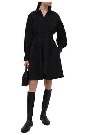 Женское хлопковое платье DRIES VAN NOTEN черного цвета, арт. 211-11026-2228   Фото 2 (Стили: Кэжуэл; Длина Ж (юбки, платья, шорты): До колена; Женское Кросс-КТ: Платье-одежда, платье-рубашка; Материал внешний: Хлопок; Рукава: Длинные; Случай: Повседневный)