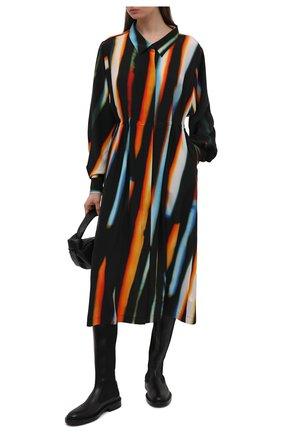 Женское шелковое платье DRIES VAN NOTEN оранжевого цвета, арт. 211-11031-2087 | Фото 2