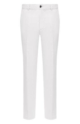 Мужские брюки из хлопка и льна PAUL&SHARK белого цвета, арт. 21414042/FJD | Фото 1 (Материал внешний: Хлопок, Лен; Стили: Кэжуэл; Случай: Повседневный; Длина (брюки, джинсы): Стандартные)