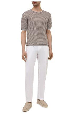 Мужские брюки из хлопка и льна PAUL&SHARK белого цвета, арт. 21414042/FJD | Фото 2 (Материал внешний: Хлопок, Лен; Стили: Кэжуэл; Случай: Повседневный; Длина (брюки, джинсы): Стандартные)