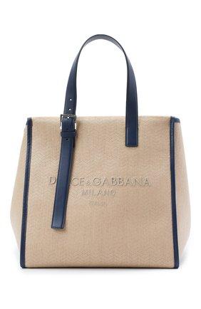 Мужская текстильная сумка-шопер DOLCE & GABBANA бежевого цвета, арт. BM1834/A0309 | Фото 1 (Материал: Текстиль)
