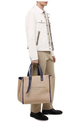 Мужская текстильная сумка-шопер DOLCE & GABBANA бежевого цвета, арт. BM1834/A0309 | Фото 2 (Материал: Текстиль)