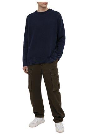 Мужские хлопковые брюки-карго ACNE STUDIOS хаки цвета, арт. BK0376   Фото 2 (Длина (брюки, джинсы): Стандартные; Стили: Милитари; Силуэт М (брюки): Карго; Материал внешний: Хлопок; Случай: Повседневный)