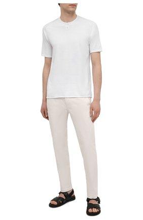 Мужские хлопковые брюки TRANSIT белого цвета, арт. CFUTRNA100 | Фото 2