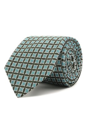 Мужской шелковый галстук LUIGI BORRELLI бирюзового цвета, арт. LC80/T31030 | Фото 1