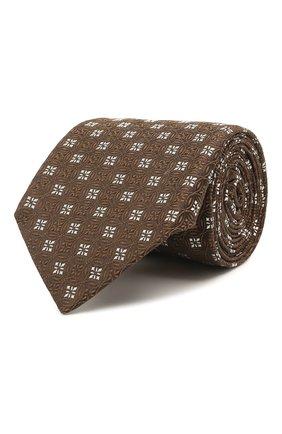 Мужской шелковый галстук LUIGI BORRELLI коричневого цвета, арт. LC80/T31196 | Фото 1 (Материал: Шелк, Текстиль; Принт: С принтом)