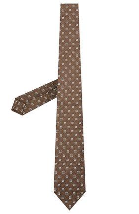 Мужской шелковый галстук LUIGI BORRELLI коричневого цвета, арт. LC80/T31196 | Фото 2 (Материал: Шелк, Текстиль; Принт: С принтом)