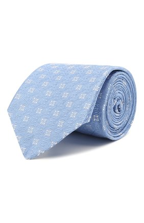 Мужской шелковый галстук LUIGI BORRELLI голубого цвета, арт. LC80/T31196 | Фото 1