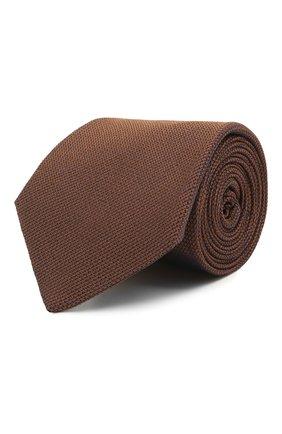 Мужской шелковый галстук LUIGI BORRELLI коричневого цвета, арт. LC80/T9199 | Фото 1 (Материал: Текстиль, Шелк; Принт: Без принта)