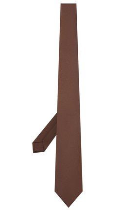 Мужской шелковый галстук LUIGI BORRELLI коричневого цвета, арт. LC80/T9199 | Фото 2 (Материал: Текстиль, Шелк; Принт: Без принта)