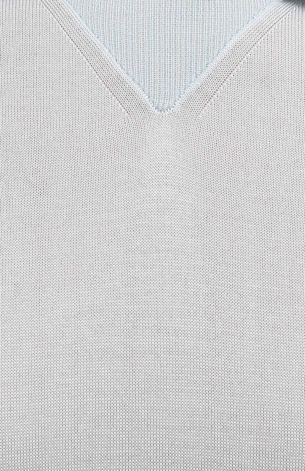 Мужское шелковое поло CANALI голубого цвета, арт. C0789/MX01172   Фото 5