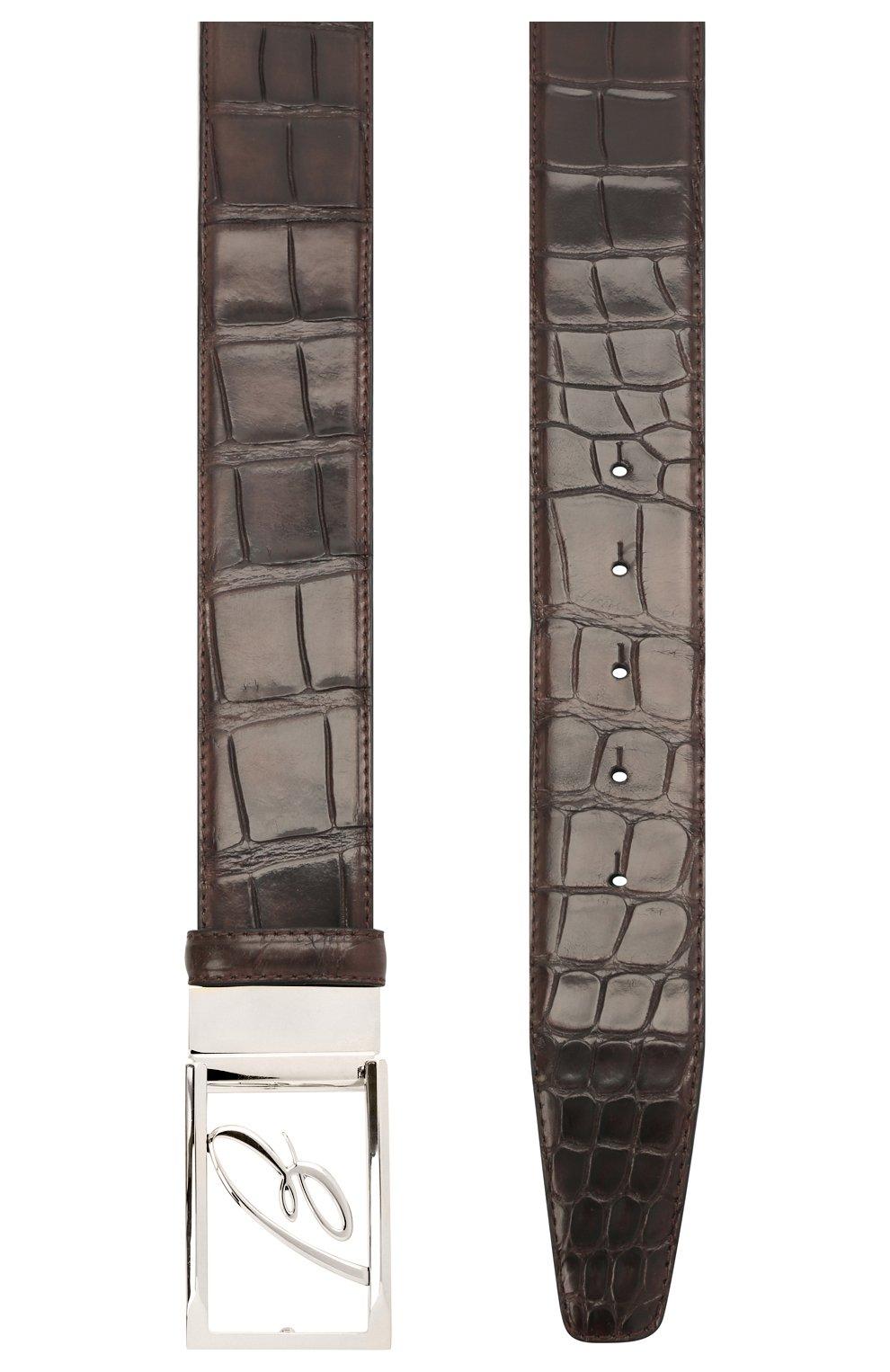 Мужской ремень из кожи аллигатора BRIONI темно-коричневого цвета, арт. 0BAS0L/09718/AMIS   Фото 2