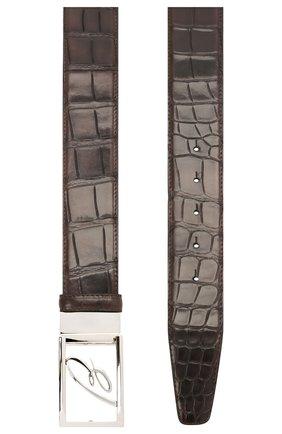 Мужской ремень из кожи аллигатора BRIONI темно-коричневого цвета, арт. 0BAS0L/09718/AMIS | Фото 2