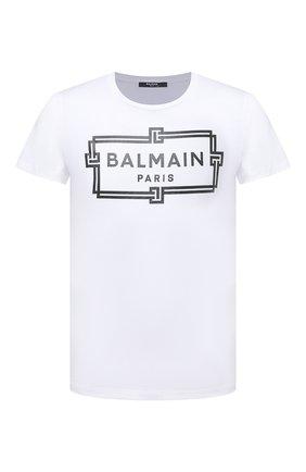Мужская хлопковая футболка BALMAIN белого цвета, арт. VH0EF000/G065 | Фото 1