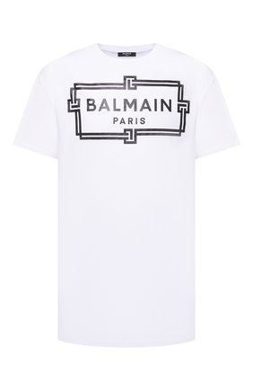 Мужская хлопковая футболка BALMAIN белого цвета, арт. VH0EH000/G065 | Фото 1