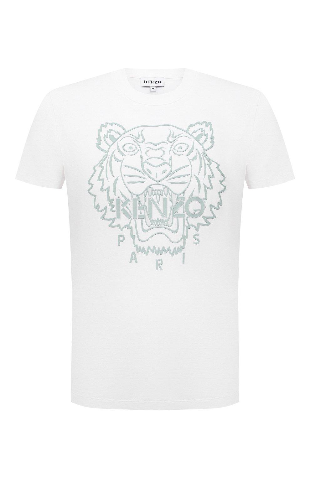 Мужская хлопковая футболка KENZO белого цвета, арт. FB55TS0204SF | Фото 1 (Рукава: Короткие; Длина (для топов): Стандартные; Принт: С принтом; Материал внешний: Хлопок; Стили: Кэжуэл)