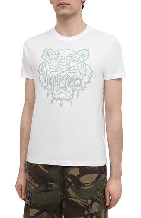 Мужская хлопковая футболка KENZO белого цвета, арт. FB55TS0204SF | Фото 3 (Рукава: Короткие; Длина (для топов): Стандартные; Принт: С принтом; Материал внешний: Хлопок; Стили: Кэжуэл)
