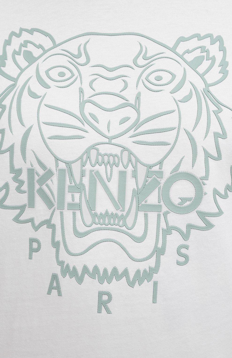 Мужская хлопковая футболка KENZO белого цвета, арт. FB55TS0204SF | Фото 5 (Рукава: Короткие; Длина (для топов): Стандартные; Принт: С принтом; Материал внешний: Хлопок; Стили: Кэжуэл)