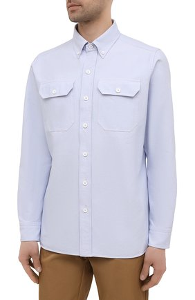 Мужская хлопковая рубашка TOM FORD голубого цвета, арт. QFT092/94UDAN | Фото 3