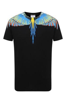 Мужская хлопковая футболка MARCELO BURLON черного цвета, арт. CMAA018S21JER001 | Фото 1 (Стили: Кэжуэл; Рукава: Короткие; Материал внешний: Хлопок; Принт: С принтом; Длина (для топов): Стандартные)