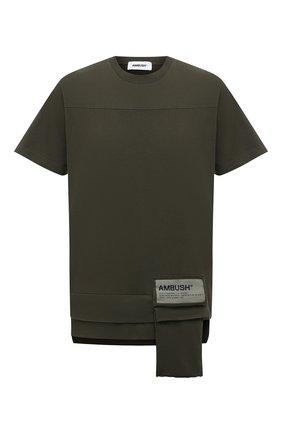 Мужская хлопковая футболка AMBUSH хаки цвета, арт. BMAA004S21JER001 | Фото 1