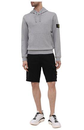 Мужской хлопковое худи STONE ISLAND серого цвета, арт. 741564151 | Фото 2