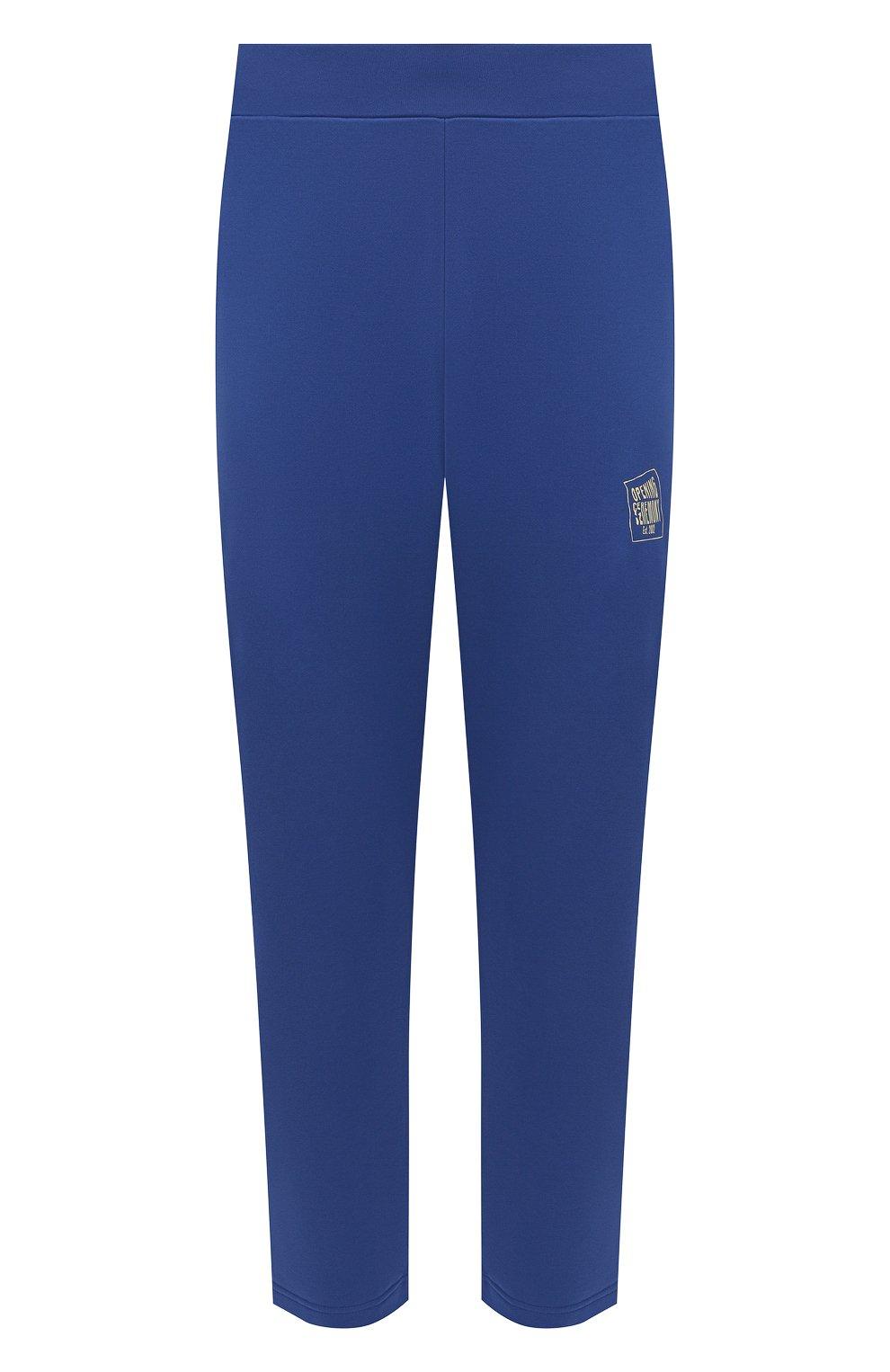 Мужские хлопковые брюки OPENING CEREMONY синего цвета, арт. YMCH003S21FLE002 | Фото 1 (Мужское Кросс-КТ: Брюки-трикотаж; Кросс-КТ: Спорт; Материал внешний: Хлопок; Стили: Спорт-шик; Длина (брюки, джинсы): Укороченные)