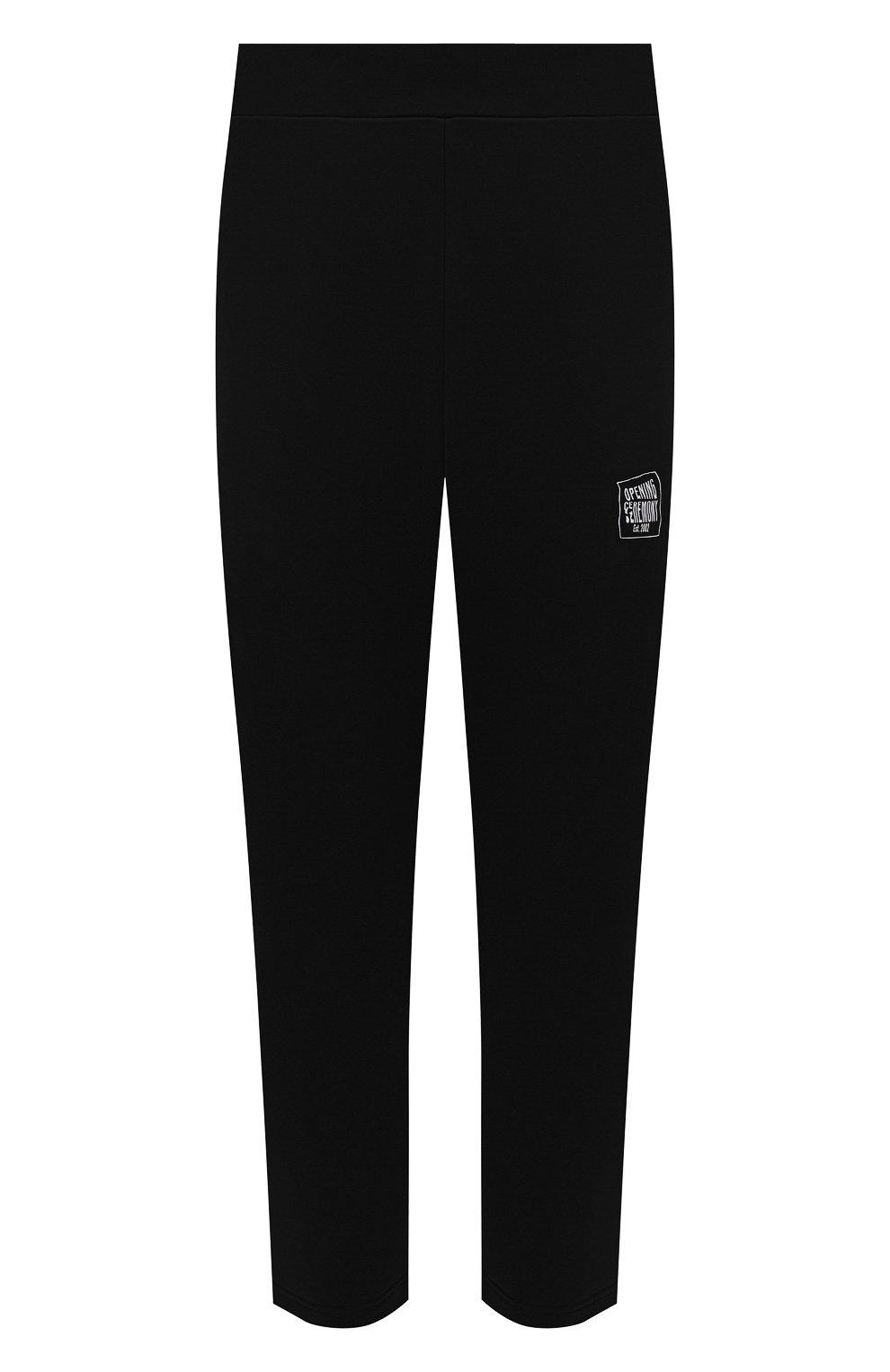 Мужские хлопковые брюки OPENING CEREMONY черного цвета, арт. YMCH003S21FLE002   Фото 1 (Мужское Кросс-КТ: Брюки-трикотаж; Кросс-КТ: Спорт; Материал внешний: Хлопок; Стили: Спорт-шик; Длина (брюки, джинсы): Укороченные)