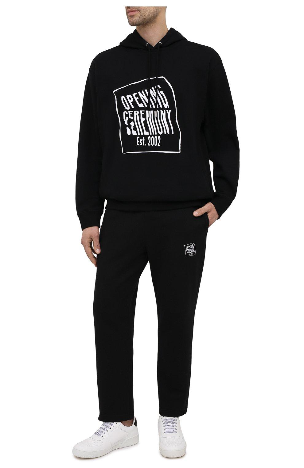 Мужские хлопковые брюки OPENING CEREMONY черного цвета, арт. YMCH003S21FLE002   Фото 2 (Мужское Кросс-КТ: Брюки-трикотаж; Кросс-КТ: Спорт; Материал внешний: Хлопок; Стили: Спорт-шик; Длина (брюки, джинсы): Укороченные)