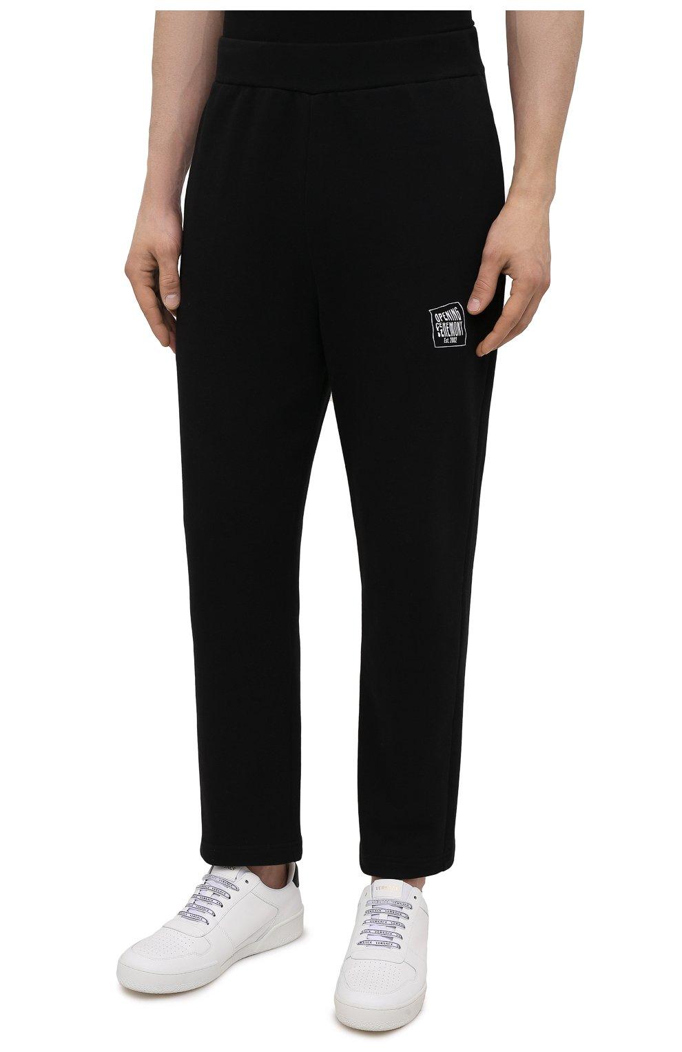 Мужские хлопковые брюки OPENING CEREMONY черного цвета, арт. YMCH003S21FLE002   Фото 3 (Мужское Кросс-КТ: Брюки-трикотаж; Кросс-КТ: Спорт; Материал внешний: Хлопок; Стили: Спорт-шик; Длина (брюки, джинсы): Укороченные)