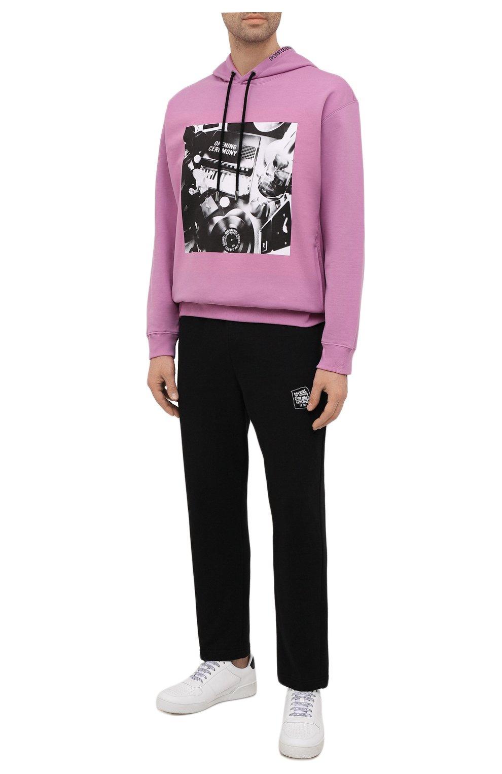 Мужской хлопковое худи OPENING CEREMONY фиолетового цвета, арт. YMBB007S21FLE001 | Фото 2 (Рукава: Длинные; Длина (для топов): Стандартные; Стили: Гранж, Спорт-шик; Принт: С принтом; Мужское Кросс-КТ: Худи-одежда; Материал внешний: Хлопок)