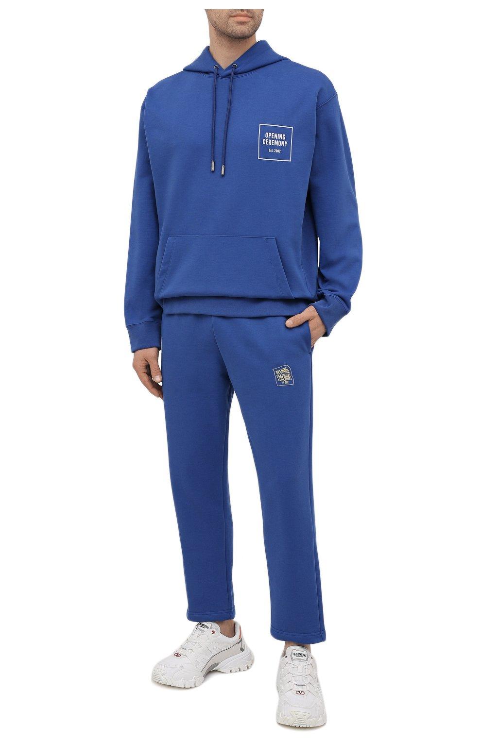 Мужской хлопковое худи OPENING CEREMONY синего цвета, арт. YMBB001S21FLE001 | Фото 2 (Рукава: Длинные; Длина (для топов): Стандартные; Стили: Гранж, Спорт-шик; Принт: С принтом; Мужское Кросс-КТ: Худи-одежда; Материал внешний: Хлопок)