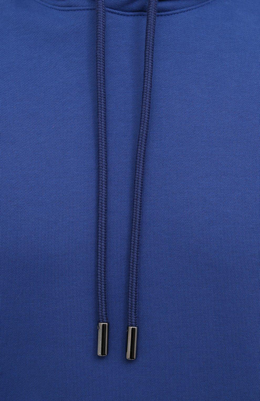 Мужской хлопковое худи OPENING CEREMONY синего цвета, арт. YMBB001S21FLE001 | Фото 5 (Рукава: Длинные; Длина (для топов): Стандартные; Стили: Гранж, Спорт-шик; Принт: С принтом; Мужское Кросс-КТ: Худи-одежда; Материал внешний: Хлопок)
