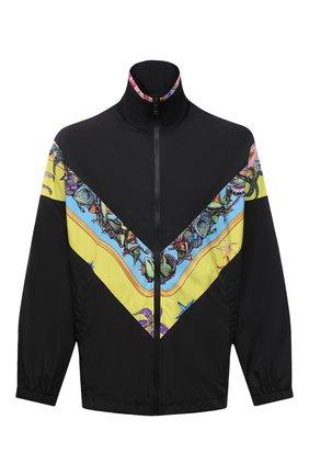 Мужская куртка VERSACE черного цвета, арт. A89028/1F00977 | Фото 1 (Стили: Кэжуэл; Рукава: Длинные; Материал подклада: Синтетический материал; Кросс-КТ: Ветровка, Куртка; Материал внешний: Синтетический материал; Длина (верхняя одежда): До середины бедра)