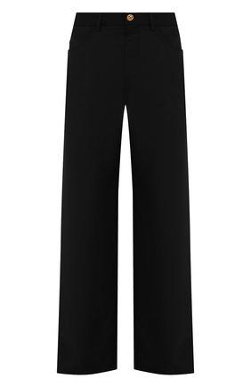 Мужские шерстяные брюки VERSACE черного цвета, арт. A88938/1F01050 | Фото 1 (Стили: Ретро; Случай: Повседневный; Материал подклада: Купро; Материал внешний: Шерсть; Длина (брюки, джинсы): Стандартные)