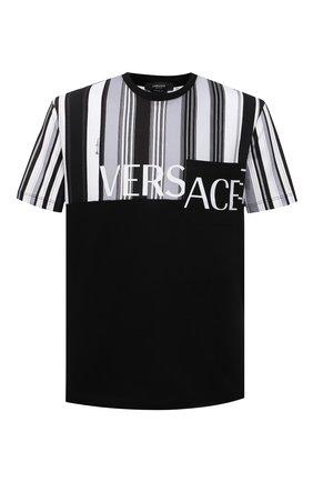 Мужская хлопковая футболка VERSACE черно-белого цвета, арт. A89002/A235263 | Фото 1