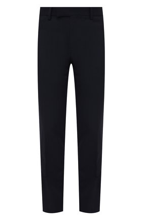 Мужские шерстяные брюки VERSACE темно-синего цвета, арт. A89256/1F00737   Фото 1 (Материал внешний: Шерсть; Случай: Повседневный; Длина (брюки, джинсы): Стандартные; Материал подклада: Купро; Стили: Кэжуэл)