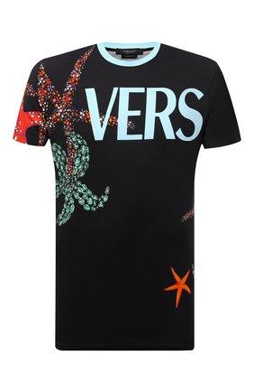 Мужская хлопковая футболка VERSACE черного цвета, арт. A89260/1F01179 | Фото 1 (Материал внешний: Хлопок; Принт: С принтом; Рукава: Короткие; Стили: Кэжуэл; Длина (для топов): Стандартные)