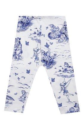 Детские хлопковые леггинсы MONNALISA голубого цвета, арт. 117415 | Фото 1