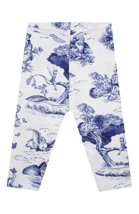 Детские хлопковые леггинсы MONNALISA голубого цвета, арт. 117415 | Фото 2
