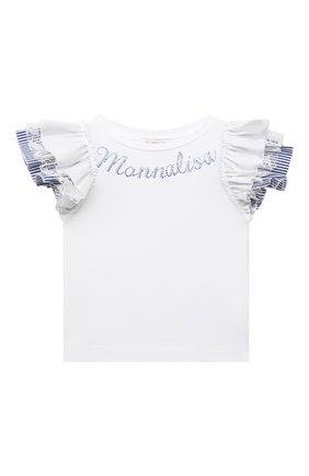 Детский хлопковая футболка MONNALISA белого цвета, арт. 117616A8 | Фото 1