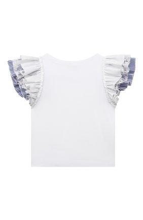 Детский хлопковая футболка MONNALISA белого цвета, арт. 117616A8 | Фото 2