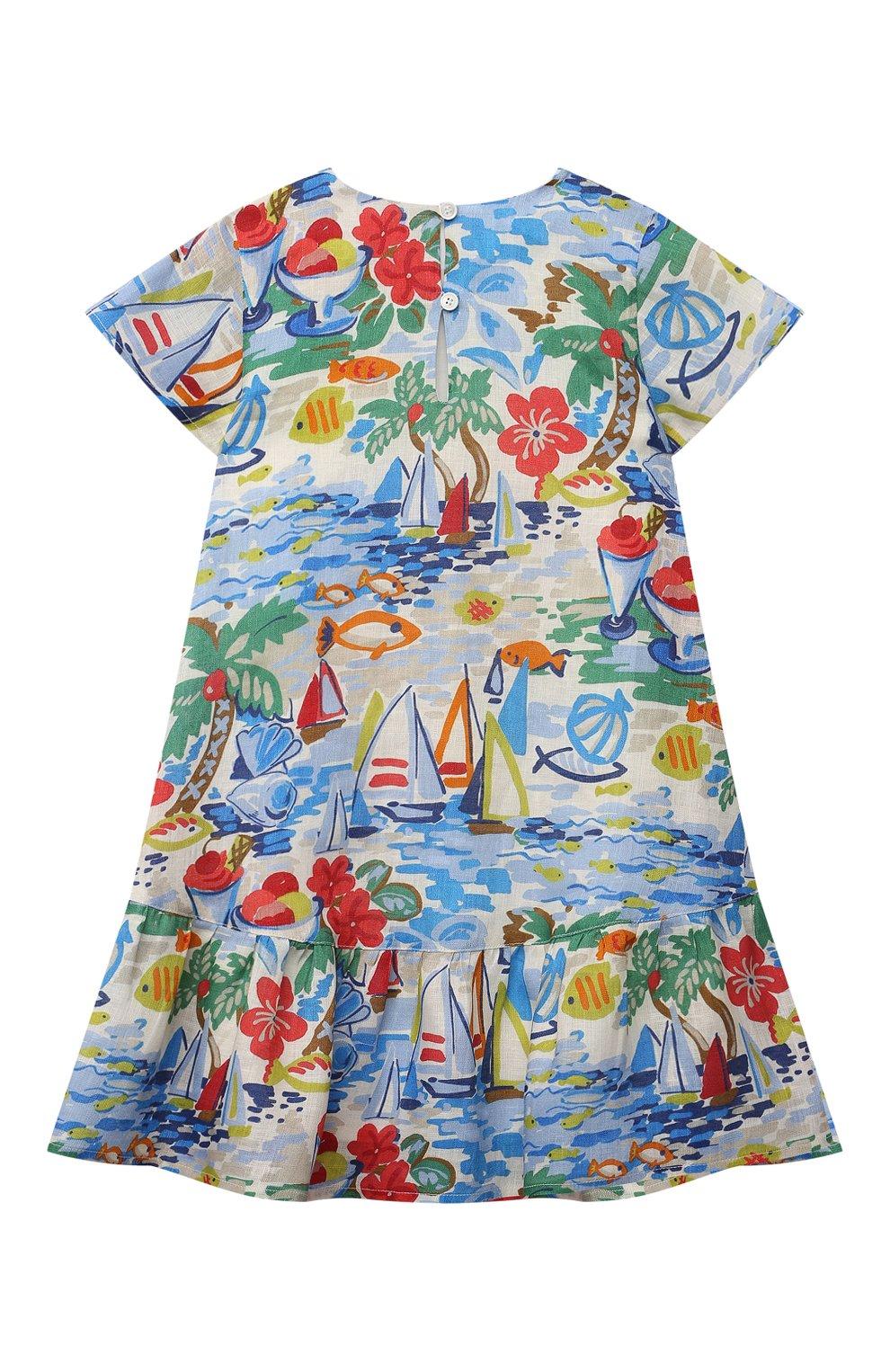 Детское льняное платье LORO PIANA разноцветного цвета, арт. FAL5909   Фото 2