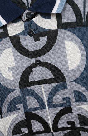 Детский хлопковое поло DOLCE & GABBANA голубого цвета, арт. L1JT6Q/HS7C2 | Фото 3
