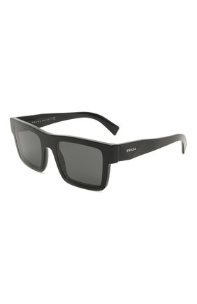 Мужские солнцезащитные очки PRADA черного цвета, арт. 19WS-1AB5S0 | Фото 1