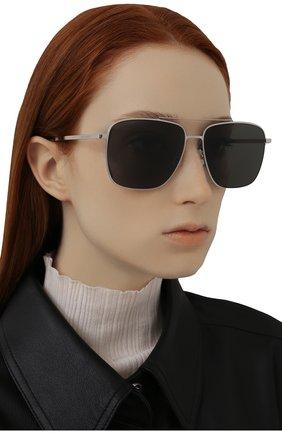 Женские солнцезащитные очки SAINT LAURENT серебряного цвета, арт. SL 376 SLIM 001   Фото 2