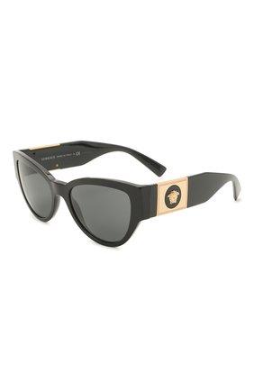 Женские солнцезащитные очки VERSACE черного цвета, арт. 4398-GB1/87 | Фото 1