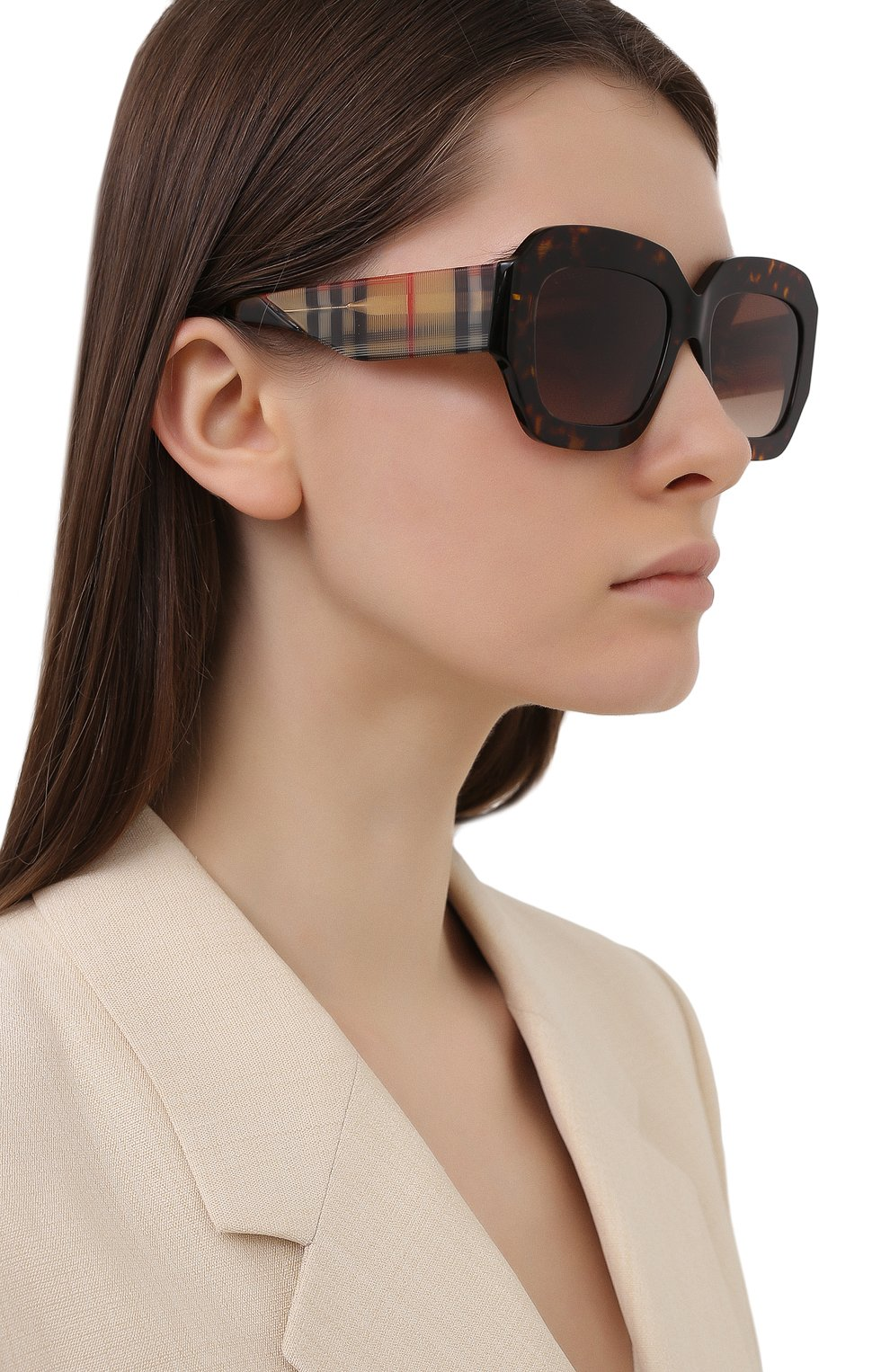 Женские солнцезащитные очки BURBERRY коричневого цвета, арт. 4334-393013 | Фото 2