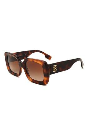Женские солнцезащитные очки BURBERRY коричневого цвета, арт. 4327-331613   Фото 1 (Тип очков: С/з; Очки форма: Прямоугольные, Квадратные; Оптика Гендер: оптика-женское)