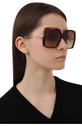 Женские солнцезащитные очки BURBERRY коричневого цвета, арт. 4332-331613 | Фото 2